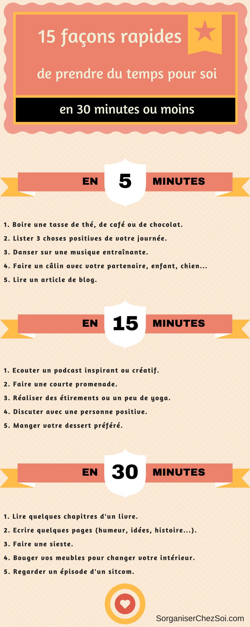 Temps pour soi : Voici une infographie avec 15 façons d'en profiter !